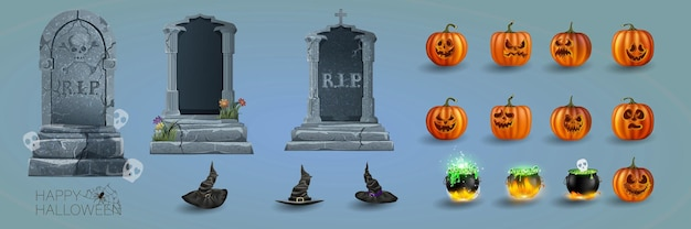 Halloween-elemente-kürbis-set und objekte für design-projekte. grabsteine für halloween. antike rip. grab auf dunklem hintergrund