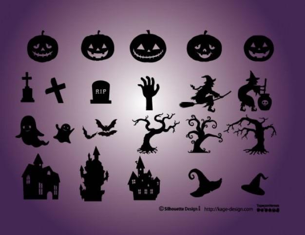 Halloween-elemente. kürbisse, friedhof, hexe, schloss, hexe.