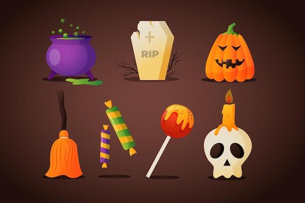 Halloween-elemente mit farbverlauf