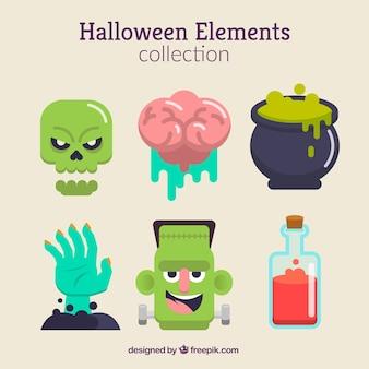 Halloween-elemente mit gruseligen stil