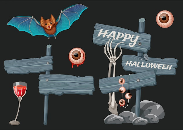 Halloween-elemente mit holzbrettern.