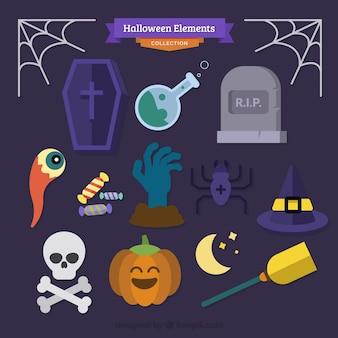 Halloween-elemente sammlung in flachen design