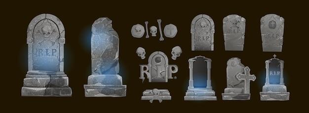Halloween-elemente und -objekte für designprojekte. grabsteine für halloween. antike rip. grab auf dunklem hintergrund