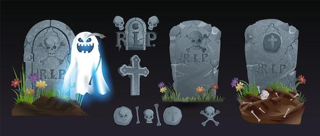Halloween-elemente und -objekte für designprojekte. grabsteine für halloween. antike rip. grab auf schwarzem hintergrund
