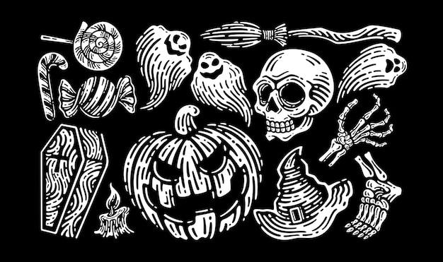 Halloween-elemente zum feiern und dekorieren