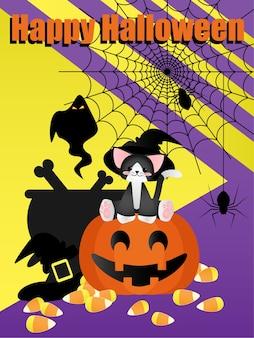 Halloween-elementhintergrund mit glücklichem halloween-text.