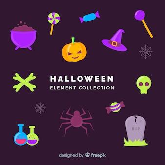 Halloween-elementsammlung im flachen design