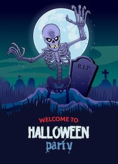 Halloween-entwurf mit dem schädel, der vom grab herauskommt