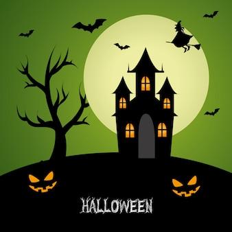 Halloween-entwurf mit geisterhausschattenbild