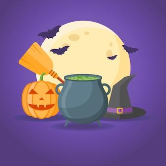 Halloween-entwurf mit kessel mit trank, hexenhut, besen, kürbis, vollmond und fledermäusen.