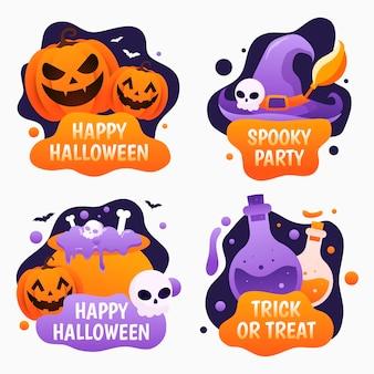 Halloween-etiketten-kollektion mit farbverlauf