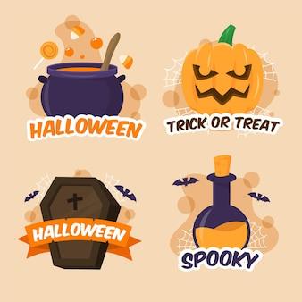 Halloween-etikettenkollektion im flachen design