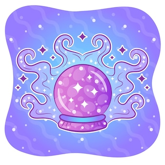 Halloween-färbungs-kristallkugel-aufkleber