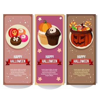 Halloween-fahnensammlung mit flachen art der leckereien