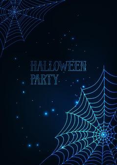 Halloween-fahnenschablone mit glühenden spinnennetzen auf dunkelblauem hintergrund.