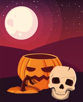 Halloween-feier des kürbises und des schädels glückliche