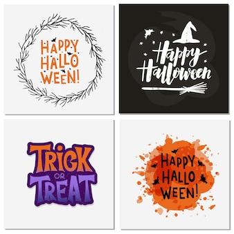 Halloween feier schriftzug set.