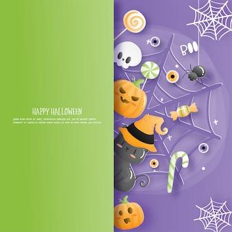 Halloween-feiern im papierschnittstil.