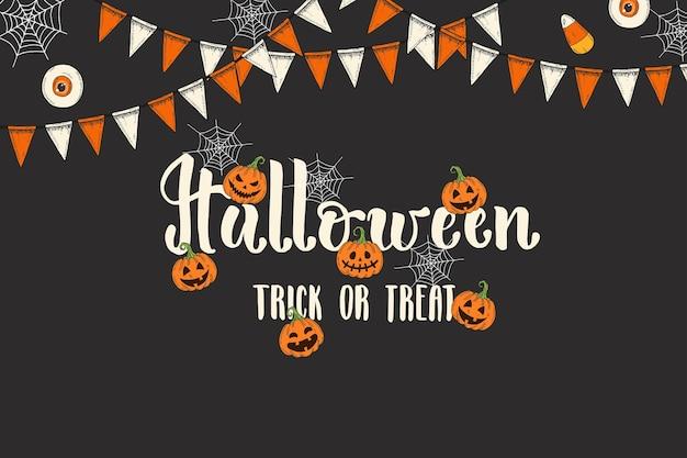 Halloween-feiertag-grußkarte mit schriftzug. handgemachte pinselkalligraphie und handgezeichnete symbole kürbis jack und girlande. süßes oder saures. halloween-text für grußkarten, partyeinladung.