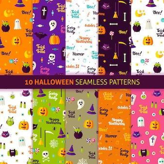 Halloween-feiertags-nahtlose muster. vektor-illustration des feiertags-hintergrundes. süßes oder saures.