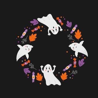 Halloween-feiertagsfahnendesign mit süßigkeitsmais und kürbis. vektor-illustration