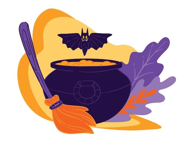 Halloween-feiertagsfeier, kessel mit kochendem liebestrank oder magischer substanz. fliegende fledermaus und besen mit dekorativem laub. attribut der hexen- und hexereipraxis, vektor im flachen stil
