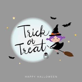 Halloween-feiertagsgrußkarte mit hexe
