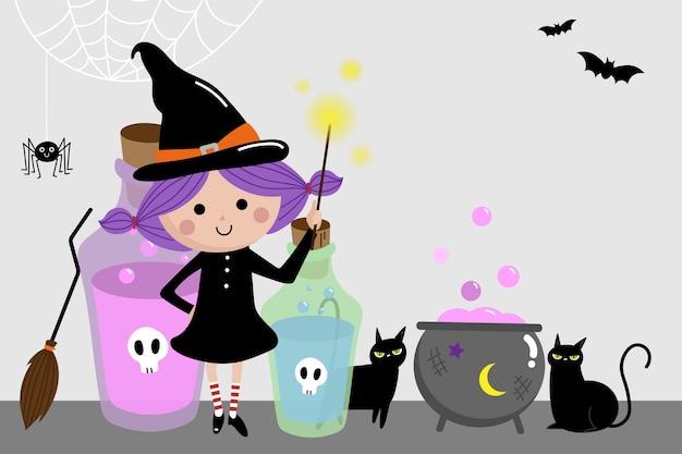 Halloween-feiertagshintergrund mit netter hexe und schwarzer katze.