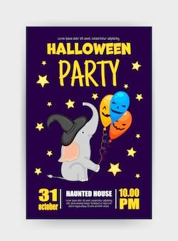 Halloween-feiertagskarte mit elefanten. cartoon-stil. vektor-illustration