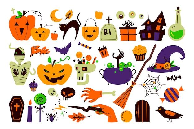 Halloween-feiertagskritzelsatz lokalisiert auf weiß