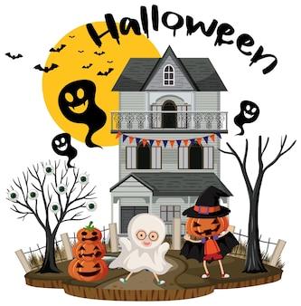 Halloween-fest mit geisterhaus
