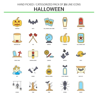 Halloween flache linie icon set
