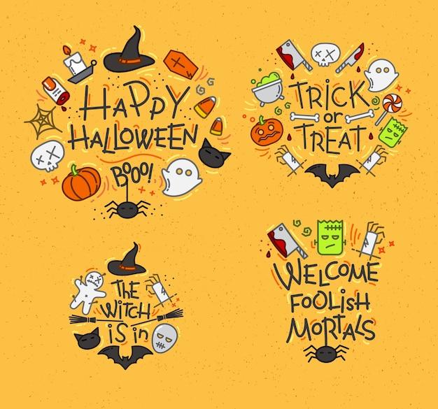 Halloween flache monogramme senf