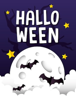 Halloween fledermäuse auf monddesign, feiertag und gruseligem thema