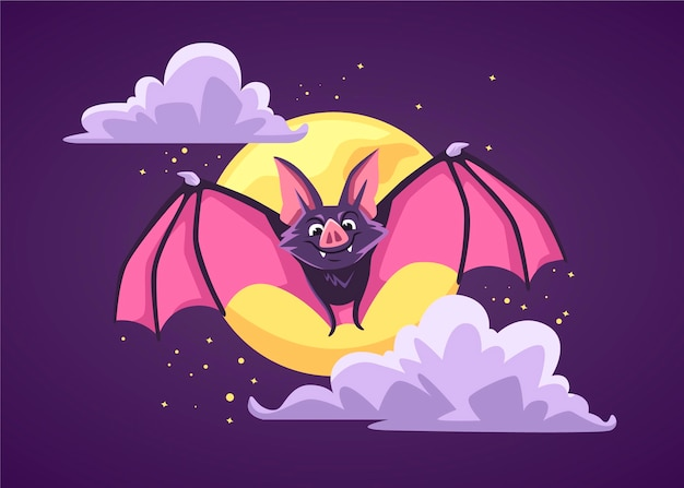Halloween fledermaus im flachen design