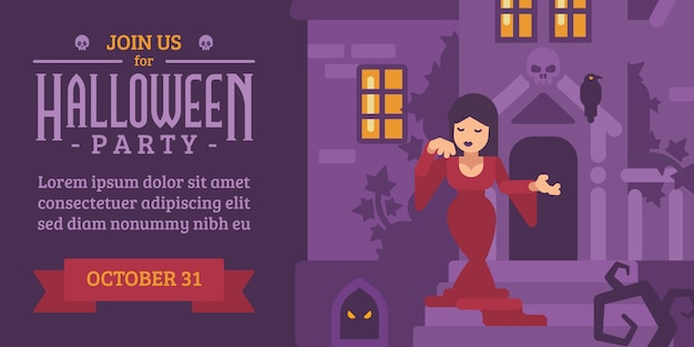 Halloween-flieger mit einer frau in einem roten kleid in einem geisterhaus