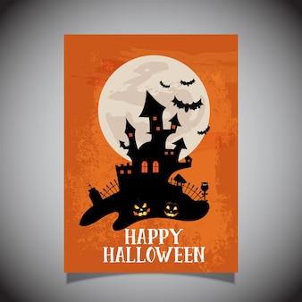 Halloween-flieger mit gruseligem schlossdesign