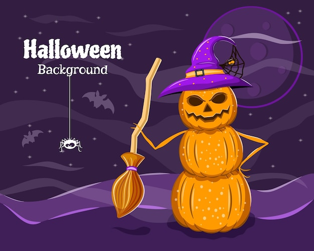 Halloween flyer kürbis schneemann mit einem besen in einer nacht happy halloween vector illustration