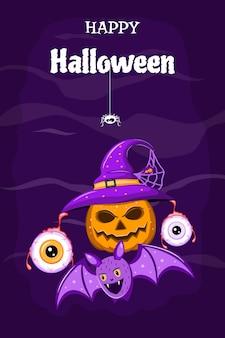 Halloween-flyer mit einem kürbis, der einen hexenhut mit augapfelmonstern und einem fledermausvektor trägt