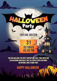 Halloween flyer vorlage spukhaus dunkles schloss und vollmond flyer mockup für halloween party