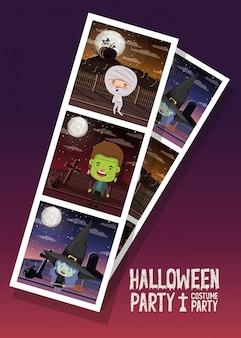 Halloween-foto mit den kindern kostümiert