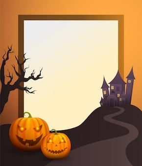 Halloween-foto-rahmen mit altem schloss und kürbisen
