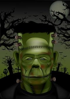 Halloween frankenstein mit fledermäusen und totem baum