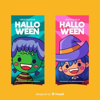 Halloween frankenstein und hexe banner
