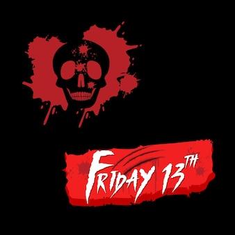 Halloween freitag 13. mit blutigem schädel