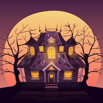 Halloween-frequentierter haushintergrund mit steigungslichtern