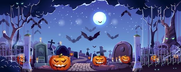 Halloween-friedhof-landingpage nachtfriedhof mit grabsteinen und kreuzen, die fledermäuse fliegen