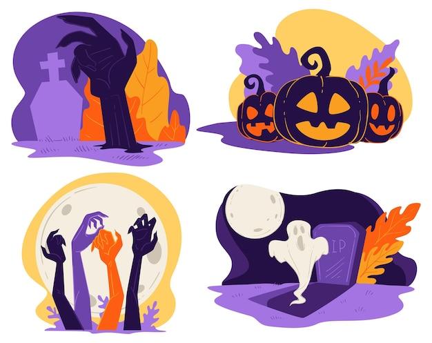 Halloween-friedhof und geschnitzter kürbis