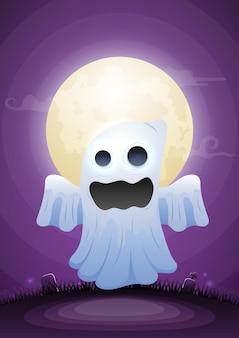 Halloween-geist im mondschein und friedhof. fröhlicher halloween-hintergrund für website-banner, flyer, einladung, poster, broschüre oder werbematerial.