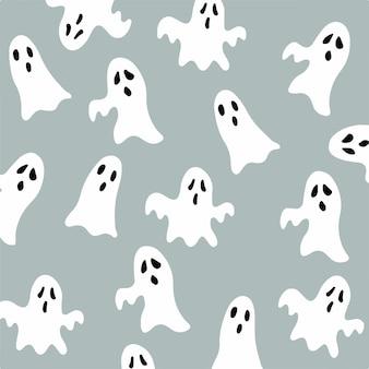 Halloween-geist-muster-hintergrund-vektor-illustration